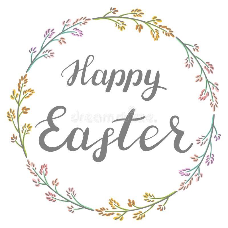 Pascua feliz Ejemplo con la guirnalda floral imagenes de archivo