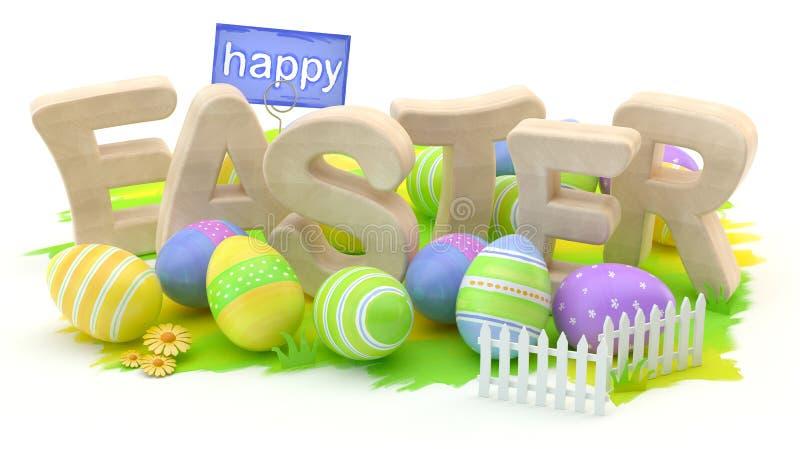 Pascua feliz, ejemplo 3d ilustración del vector