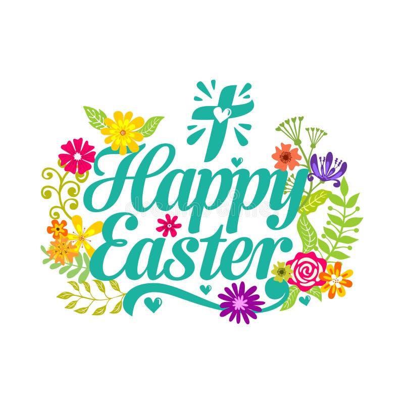 Pascua feliz Elementos de las letras y del gráfico Cruz del Jesucristo ilustración del vector