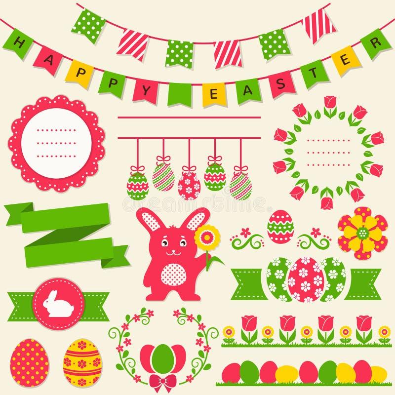 ¡Pascua feliz! Elementos del diseño del vector libre illustration
