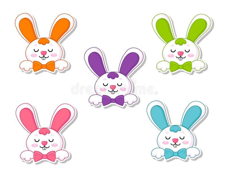 Pascua feliz fijó la etiqueta engomada linda del conejo de la historieta Elemento decorativo del ejemplo del vector el día de Pas ilustración del vector