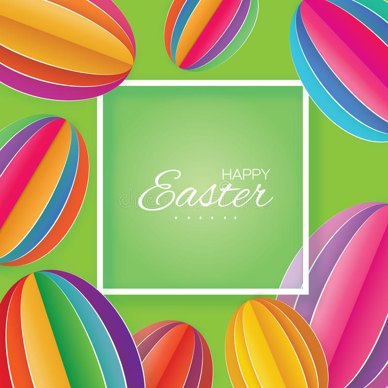 Pascua feliz Huevo de Pascua colorido del corte del papel Marco cuadrado ilustración del vector
