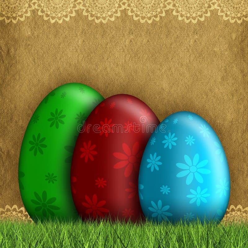 Pascua feliz - huevos coloreados stock de ilustración