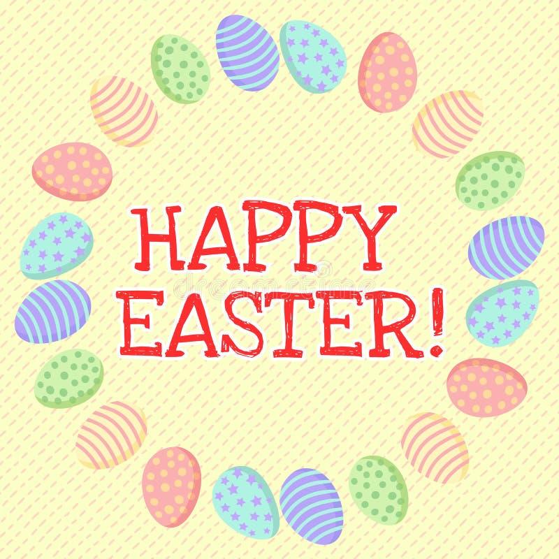 Pascua feliz Inscripci?n linda en una guirnalda de los huevos de Pascua libre illustration