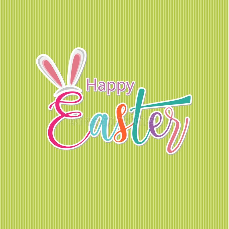 Pascua feliz Letras caligráficas dibujadas mano Texto aislado del color en fondo verde Ilustración del vector libre illustration