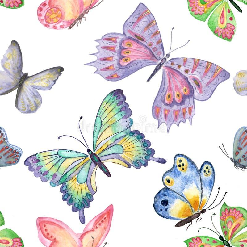 Pascua feliz Modelo inconsútil de las mariposas Drenaje de la mano de la acuarela ilustración del vector