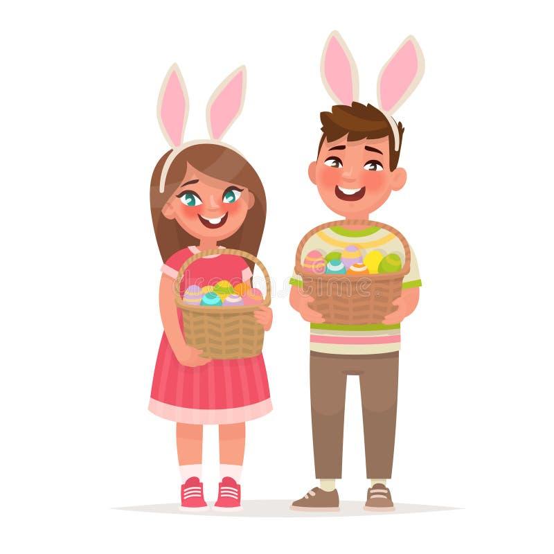 Pascua feliz Niños con las cestas llenas de huevos Un muchacho y una muchacha vestidos en oídos de conejo libre illustration