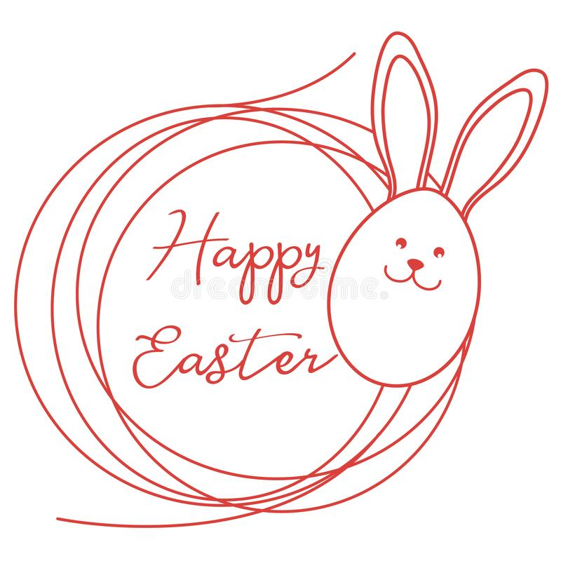 Pascua feliz Oídos del conejito de pascua, huevo, jerarquía linear ilustración del vector