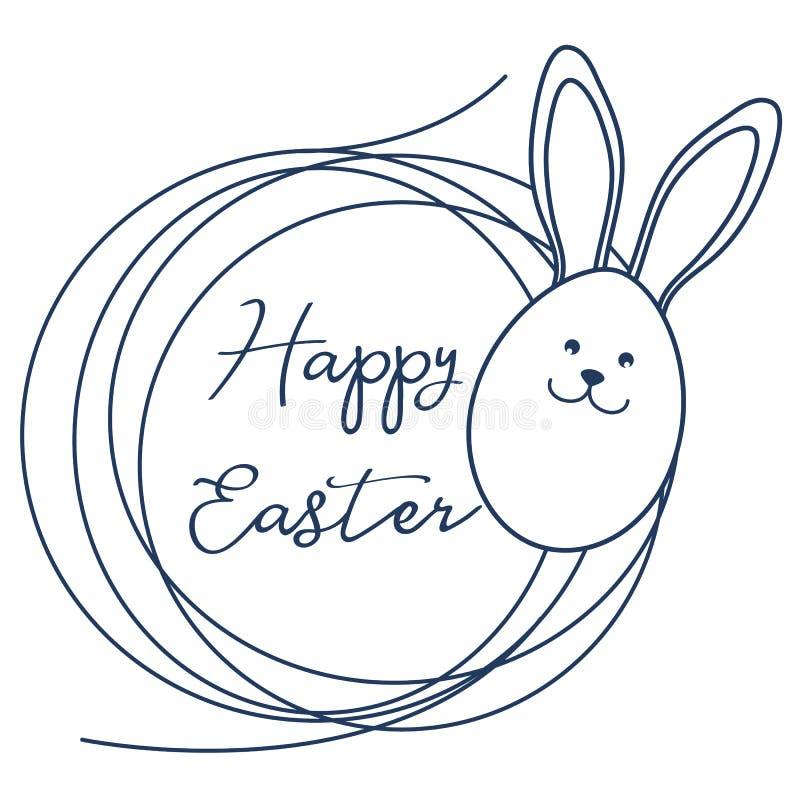 Pascua feliz Oídos del conejito de pascua, huevo, jerarquía linear stock de ilustración