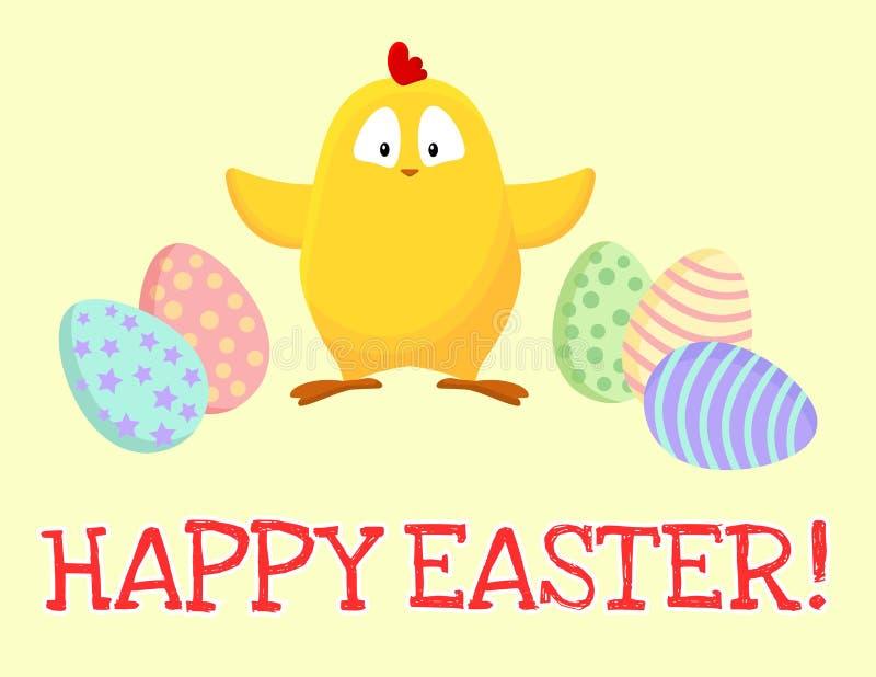 Pascua feliz Peque?o pollo amarillo lindo con la postal de la historieta de los huevos de Pascua stock de ilustración