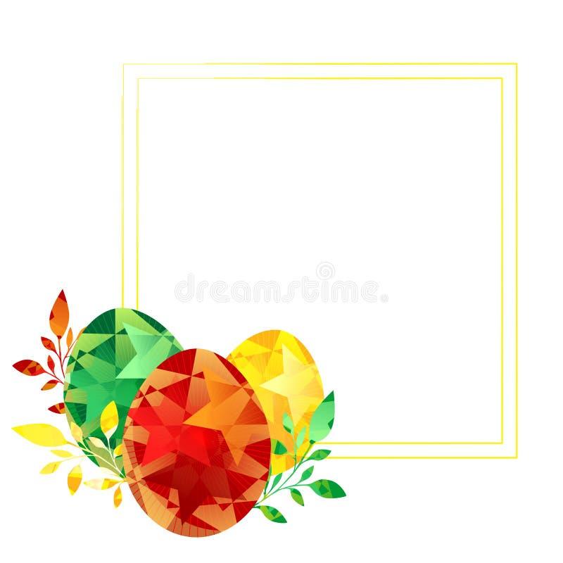 Pascua feliz pintó los huevos, marco rojo verde amarillo se puede utilizar para las tarjetas de felicitación, invitaciones, anu stock de ilustración