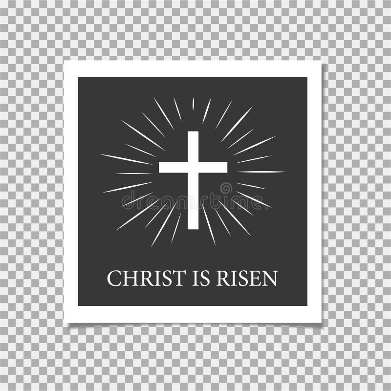 Pascua feliz Se levanta Cristo Cruz Ilustración del vector libre illustration