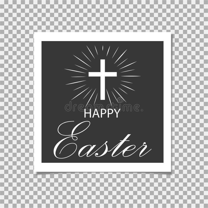 Pascua feliz Se levanta Cristo Cruz Ilustración del vector stock de ilustración