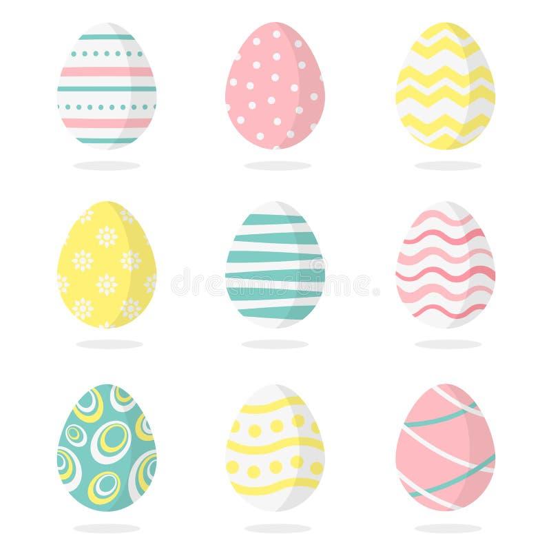 Pascua feliz Sistema de los huevos de Pascua en un fondo blanco Ilustración del vector ilustración del vector