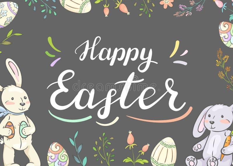 Pascua feliz Tarjeta con los conejitos, los huevos y las flores lindos imagen de archivo libre de regalías