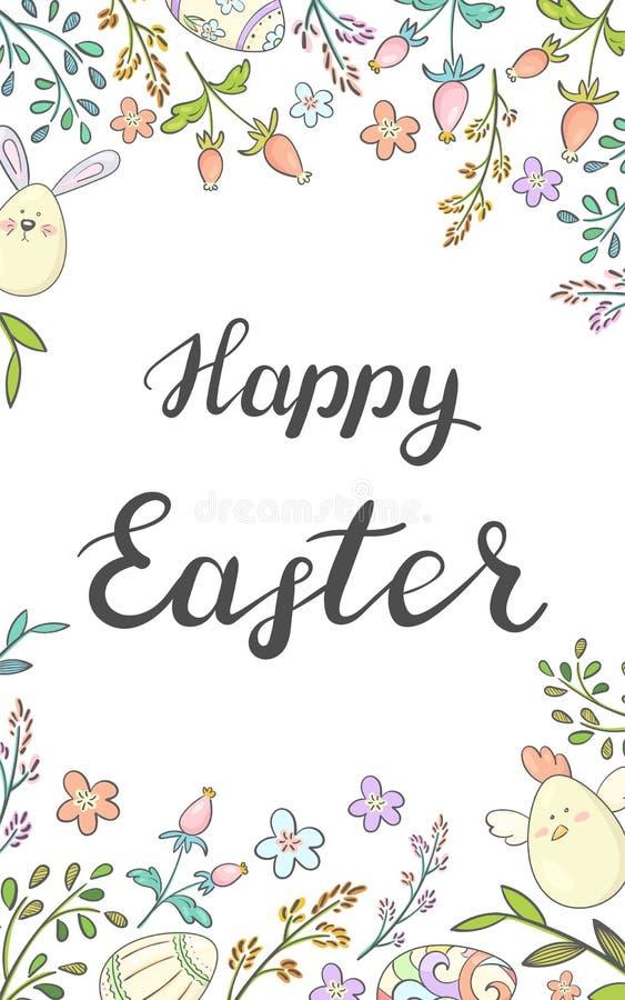 Pascua feliz Tarjeta con con los huevos coloridos y los elementos florales imagen de archivo libre de regalías