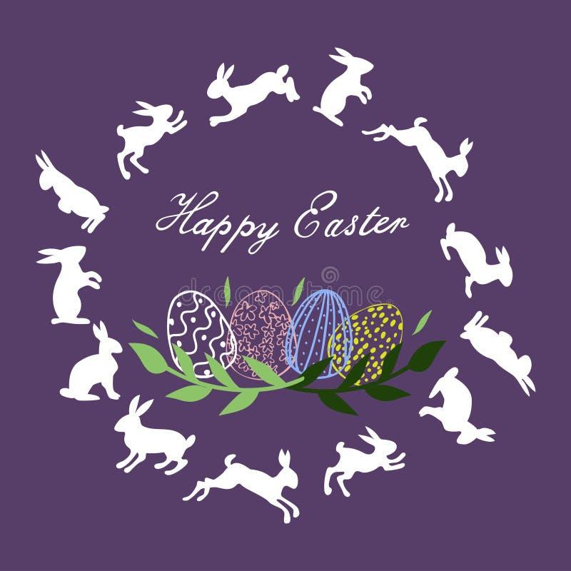 Pascua feliz Tarjeta de felicitación ilustración del vector