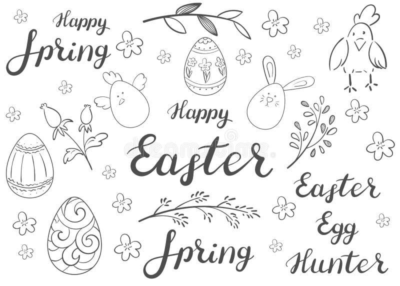 Pascua feliz Un sistema de huevos, de poner letras y de elementos florísticos fotografía de archivo libre de regalías