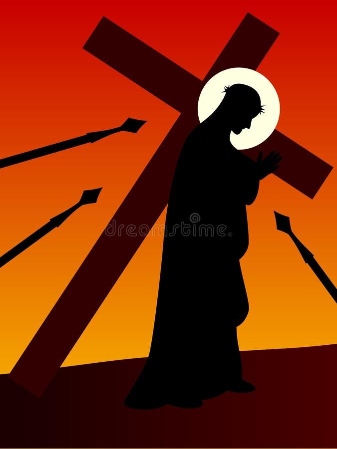 Pascua - Jesús con la cruz ilustración del vector