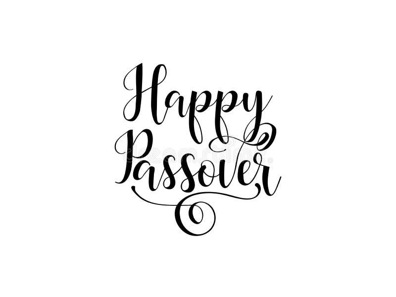 Pascua judía feliz texto manuscrito del día de fiesta judío tradicional, ejemplo para las tarjetas de felicitación, banderas, dis stock de ilustración