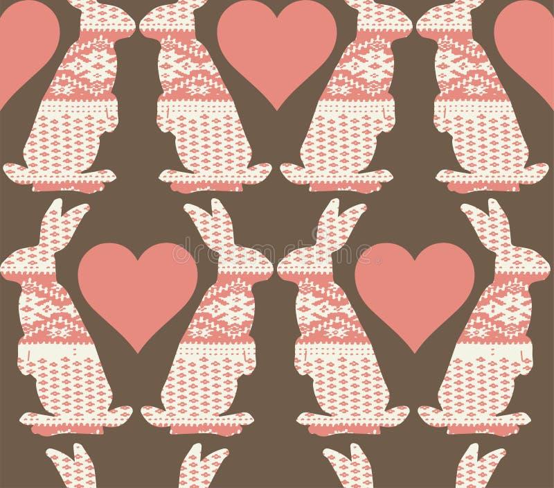 Pascua linda que besa los conejos, conejitos con los corazones repite el modelo ilustración del vector