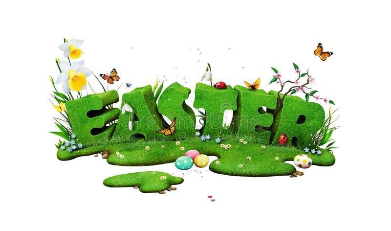 Pascua pone letras al aislamiento ilustración del vector
