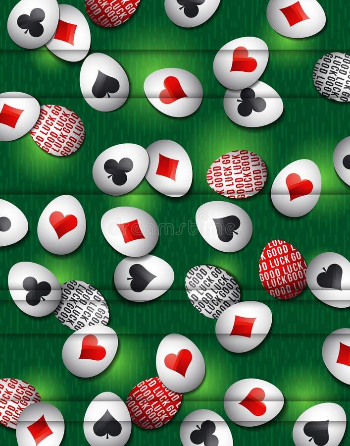 Pascua pone verde el fondo con símbolos rojos y negros sobre muchos blanco ilustración del vector