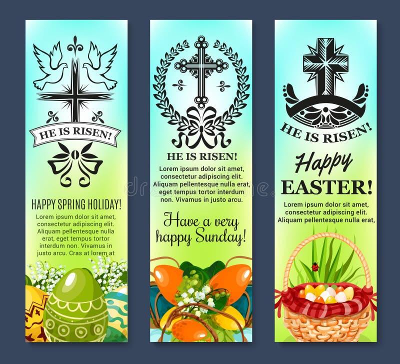 Pascua y banderas pascuales del vector de los huevos fijadas stock de ilustración
