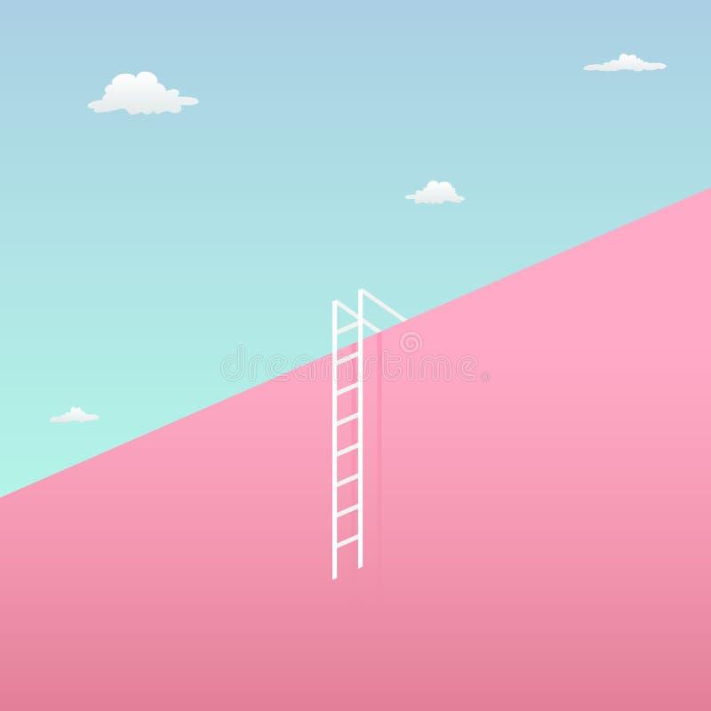 Pase el desafío para alcanzar el concepto visual de la meta con diseño minimalista del arte alta pared gigante hacia el cielo y l libre illustration