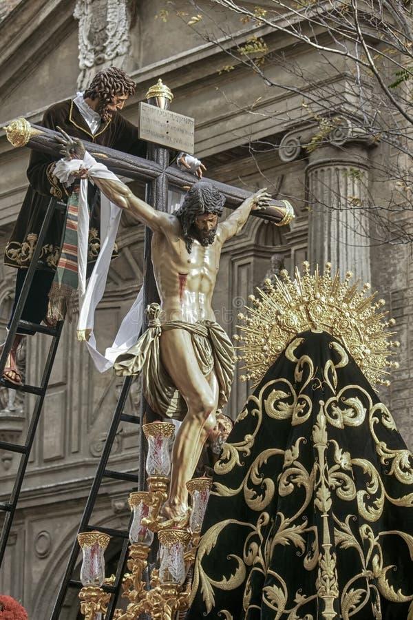 Pase el misterio de la fraternidad de la trinidad, semana santa en Sevilla foto de archivo libre de regalías