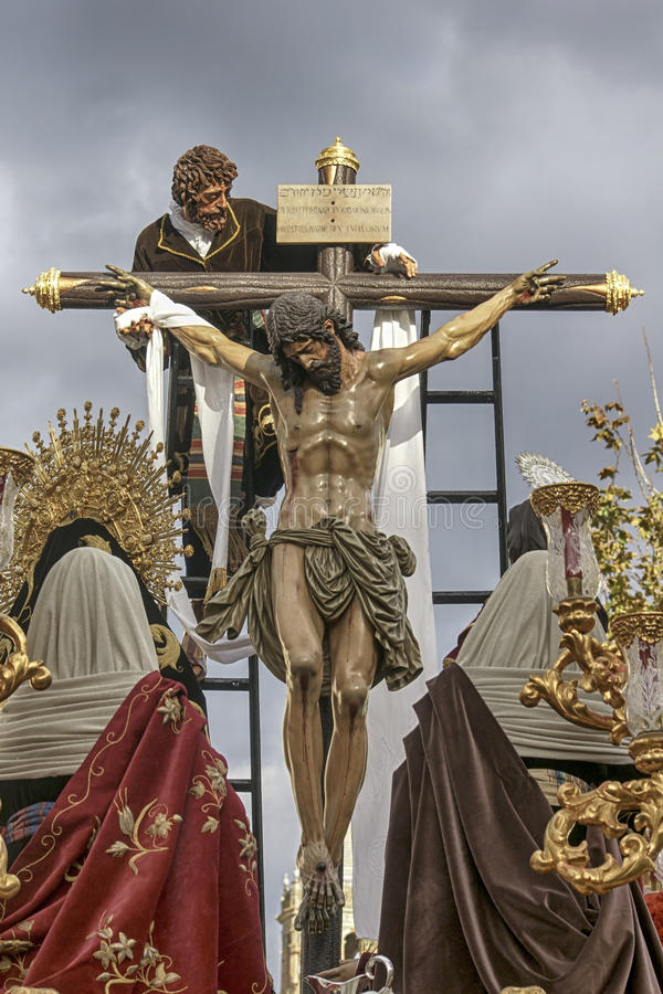 Pase el misterio de la fraternidad de la trinidad, semana santa en Sevilla fotos de archivo libres de regalías