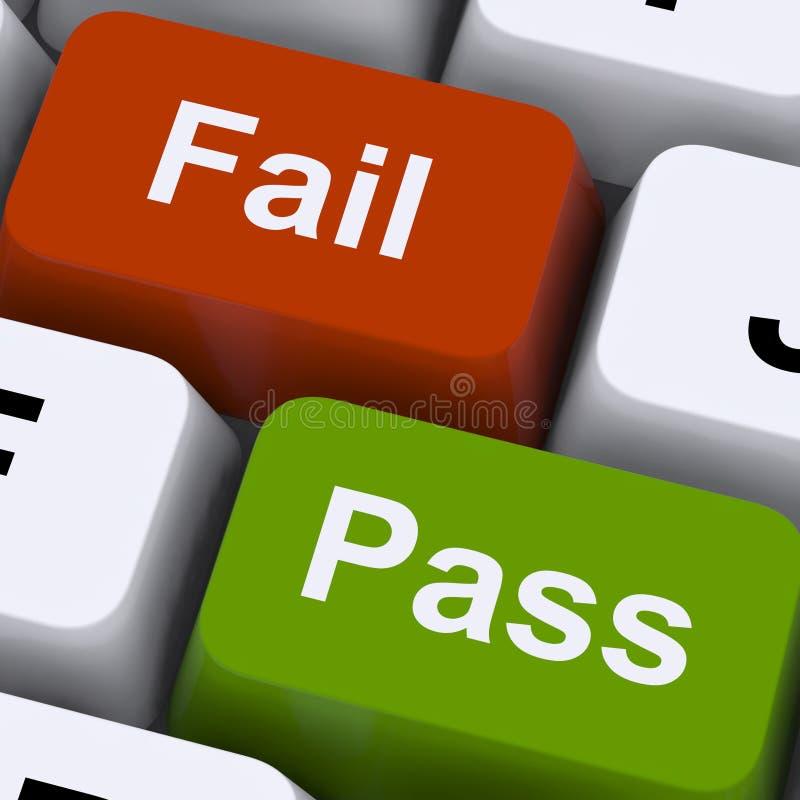 Pase o no pueda las llaves para mostrar resultado del examen o de la prueba fotos de archivo libres de regalías