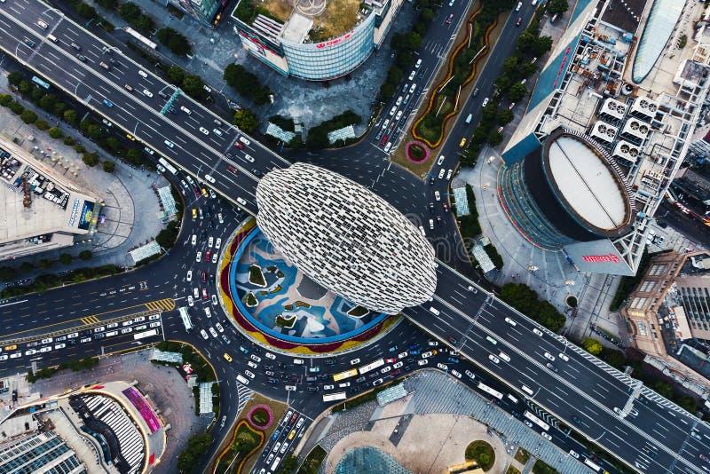 Pase por alto el distrito financiero de Wujiaochang de Shangai del aire imagen de archivo