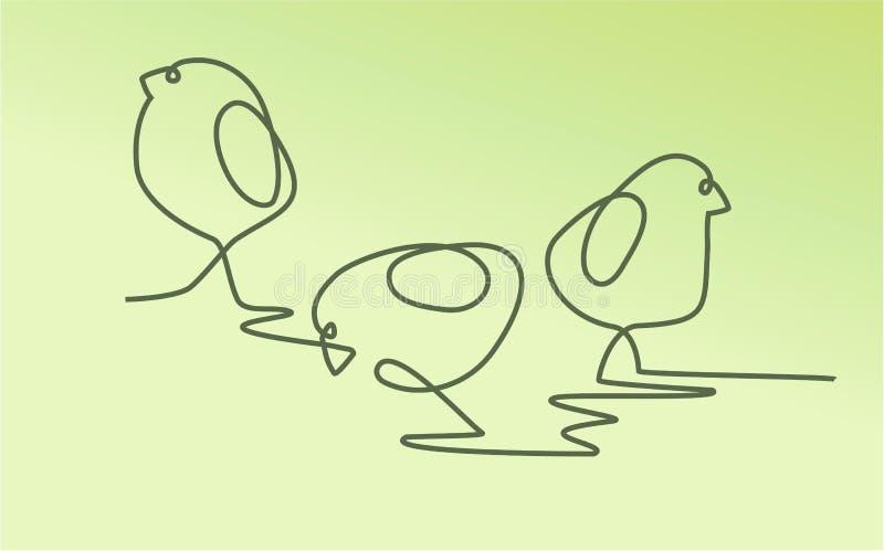 Pasen-achtergrond met één kip van de lijntekening vector illustratie