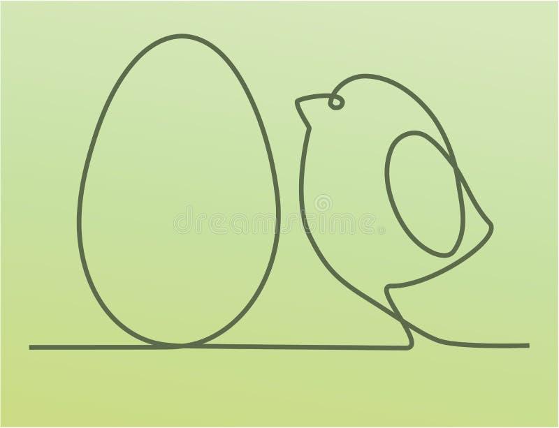 Pasen-achtergrond met één kip van de lijntekening royalty-vrije illustratie