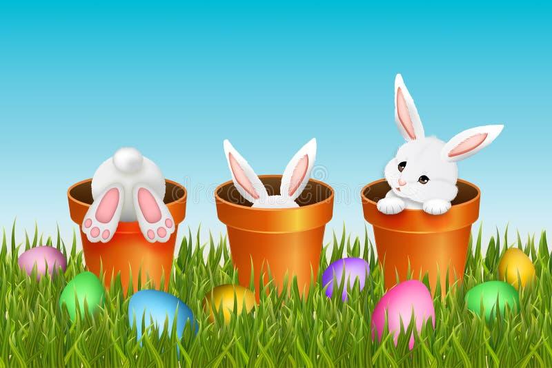 Pasen-achtergrond met drie aanbiddelijke witte konijnen stock illustratie