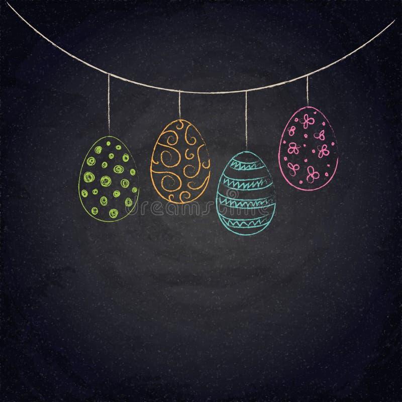 Pasen-achtergrond met kleurrijke eieren op bord royalty-vrije illustratie