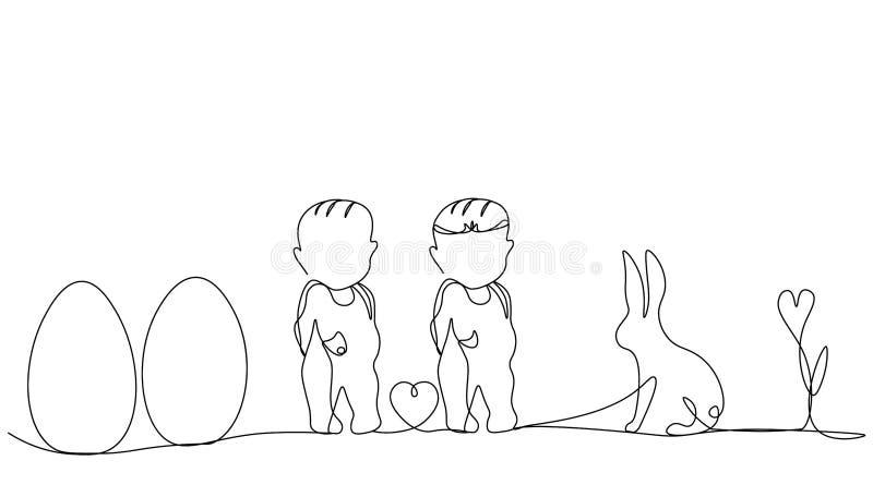 Pasen-achtergrond met konijntje, eieren, baby, vectorillustratie stock illustratie