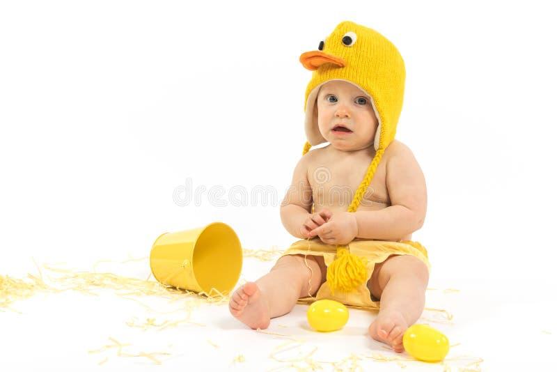 Pasen-Baby in Duck Costume royalty-vrije stock afbeeldingen