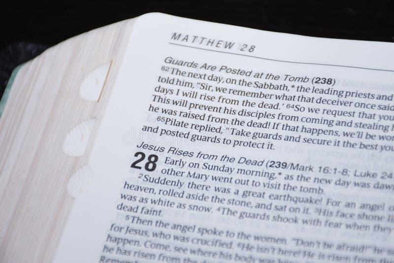 Pasen-Bijbellezing van het goede nieuws van de verrijzenis van Jesus Christ van de doden Hoofdstuk 28 van Matthew royalty-vrije stock afbeeldingen