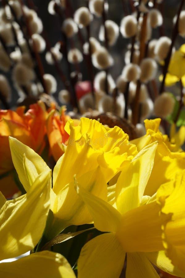 Pasen-boeket, de tulpen van de lentebloemen, narcissen en wilgenknoppen stock fotografie