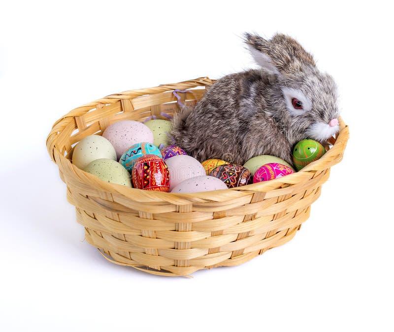 Pasen Bunny Rabbit en Eieren in een mand royalty-vrije stock afbeeldingen