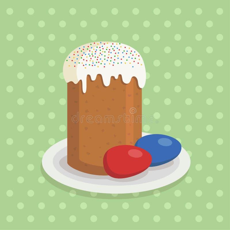 Pasen-cake en eieren kleurrijke illustratie royalty-vrije illustratie
