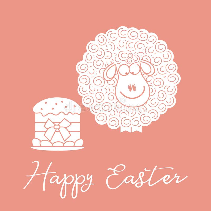Pasen-cake, lam De kaart van de groet gelukkige Pasen stock illustratie