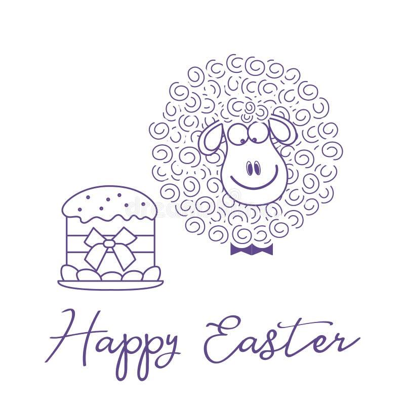 Pasen-cake, lam De kaart van de groet gelukkige Pasen vector illustratie