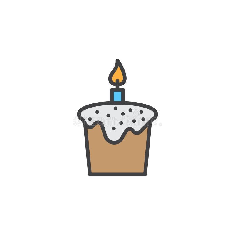 Pasen-cake met het pictogram van de kaarslijn, gevuld overzichts vectorteken, lineair kleurrijk die pictogram op wit wordt geïsol stock illustratie