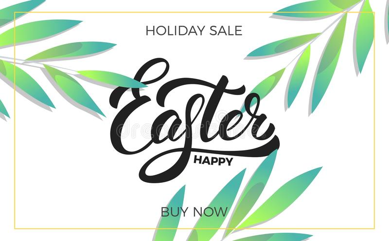 Pasen De achtergrond van de verkoopbanner met in de lentebladeren en het Gelukkige Pasen-van letters voorzien Pasen-het malplaatj stock illustratie