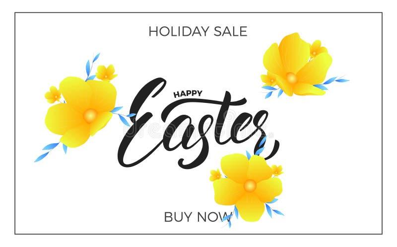 Pasen De achtergrond van de verkoopbanner met in de lentebloemen en het Gelukkige Pasen-van letters voorzien Pasen-het malplaatje vector illustratie