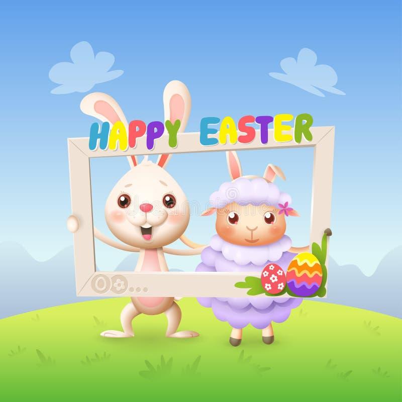 Pasen-de dieren - het Gelukkige leuke konijntje en het lam vieren Pasen met het sociale kader van de netwerkfoto - springen lands stock illustratie