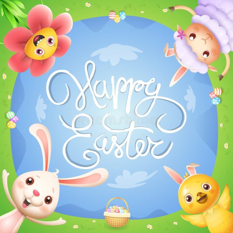 Pasen-de groetkaart met de bloem van de konijntjeskip en het lam op de lentelandschap met paaseieren vieren Pasen - onderaan meni stock illustratie